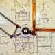 Architekturzeichnung auf Reißbrett