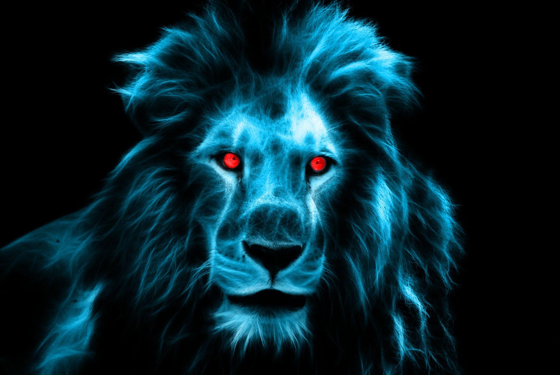 Blauer Löwenkopf symbolisiert den König der Tiere bzw. den König Kunden.